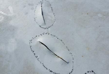 Устранение порезов мембраны, фото до